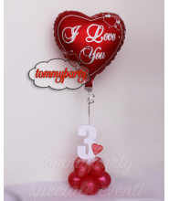 Composizione palloncino foil cuore i love you