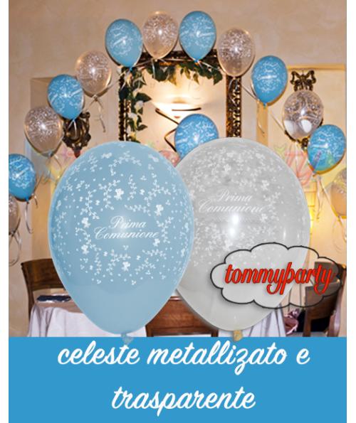 Mongolfiera a scoppio palloncino comunione - Composizione palloncini da tavolo ...