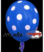 Palloncino blu stampa a pois 12 pollici/cm.30 gonfiato ad elio