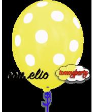 Palloncino giallo stampa a pois 12 pollici/cm.30 gonfiato ad elio