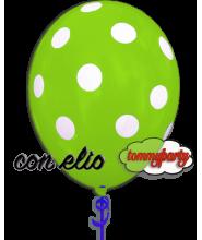 Palloncino verde chiaro stampa a pois 12 pollici/cm.30 gonfiato ad elio