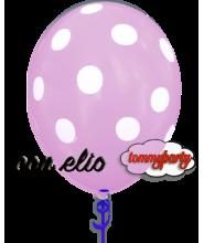 Palloncino rosa stampa a pois 12 pollici/cm.30 gonfiato ad elio