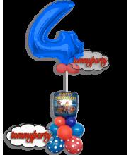 "Numerone 4 Blu ad elio con Paw Patrol Happy Birthday 18"""