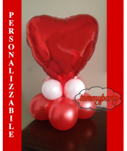 Centrotavola cuore rosso mylar + base