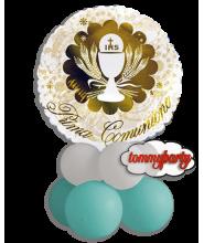 Centrotavola Palloncino foil Prima Comunione Oro
