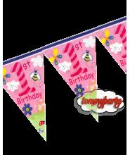 Bandierine primo Compleanno 6 mt. rosa