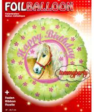 """Palloncino Tondo """"Happy Birthday"""" con cavallo"""