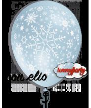 """Palloncino 12"""" stampato fiocchi di neve gonfiato ad elio"""