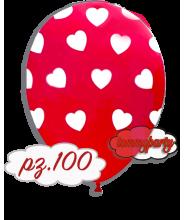 """Palloncino cuori rosso cm30/12"""" pz.100"""