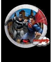 Batman e Superman 8 piatti 23 cm.