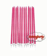 Fuxia glitterato 12 candele matite con supporto