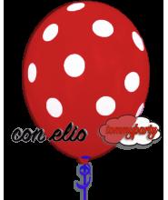 Palloncino rosso stampa a pois 12 pollici/cm.30 gonfiato ad elio