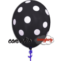 Palloncino nero stampa a pois 12 pollici/cm.30 gonfiato ad elio