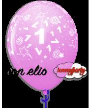 Palloncino stampa n.1 rosa 12 pollici/cm.30 gonfiato ad elio