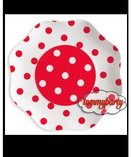 Rosso a Pois 10 Piatti 23 cm. cartoncino