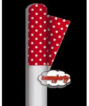 Rosso Tovaglia rotolo pois 120x500 cm