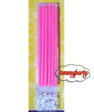 Candele rosa matita + supporto pz.12