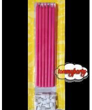 Candele matita fucsia + supporto pz.12