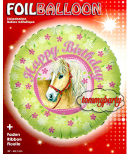 "Palloncino Tondo ""Happy Birthday"" con cavallo"