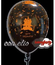 Palloncino Halloween casa 12 pollici/cm.30 gonfiato ad elio