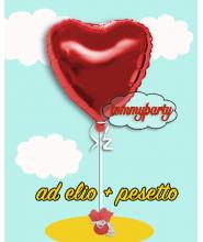 """Palloncino foil deco cuore cm.45/18"""" gonfiato ad elio"""