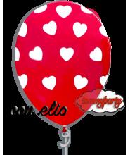 Palloncino rosso stampa a cuori 12 pollici/cm.30 gonfiato ad elio