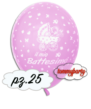 Palloncino Il Mio Battesimo rosa 12 pollici/cm.30 pz.25