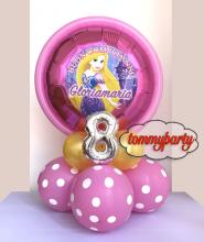 Rapunzel rotondo fucsia mylar + adesivo