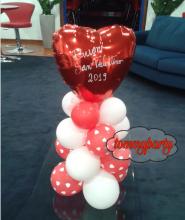 Centrotavola cuore rosso mylar + base 4 livelli