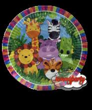Animali della Giungla piatti 22 cm. cartoncino