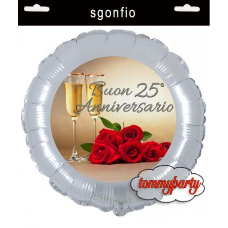 25 Matrimonio Anniversario.Palloncino Dei 25 Anni Di Matrimonio Da Gonfiare Ad Elio O Ad Aria