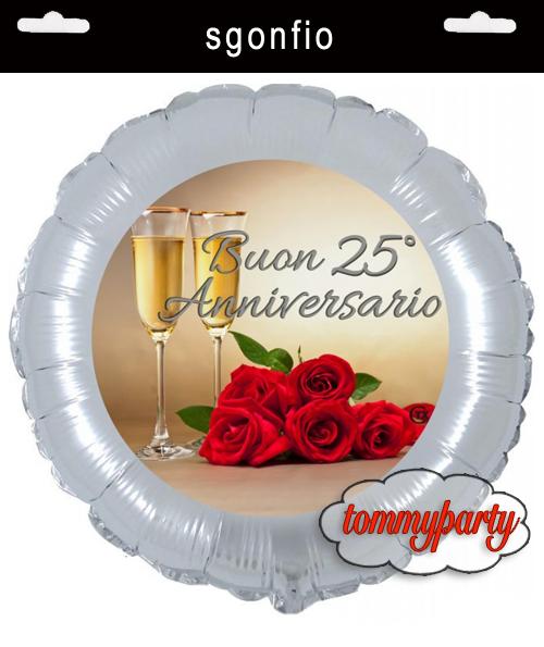 Xxv Anniversario Di Matrimonio.Palloncino Dei 25 Anni Di Matrimonio Da Gonfiare Ad Elio O Ad Aria