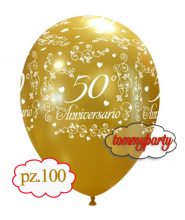 "Palloncini 12"" 50° anniversario elegante pz.100"
