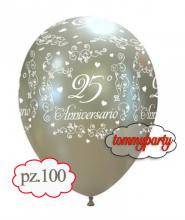 "Palloncini 12"" 25° anniversario elegante pz.100"