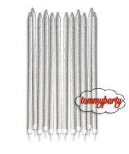 Candeline matita glitter argento 12pz
