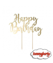 Cake Topper Happy Birthday Gold 1pz