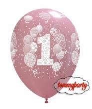 """Palloncini 12"""" 1° Compleanno Rosa pz.100"""