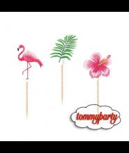 Picks sagomati Flamingo e Ibiscus pz.20