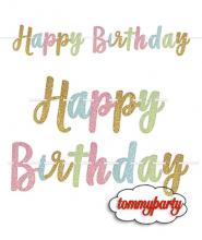 Festone Happy Birthday Pastel Glitter
