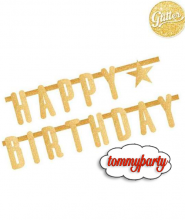Festone Happy Birthday Oro Glitterato 2.2mt
