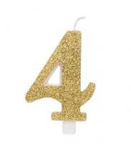 Candela Glitterata Oro N. 4