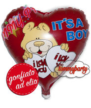Offerta Palloncino Cuore It's a Boy gonfiato ad elio