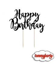 Cake Topper Happy Birthday Nero 1pz