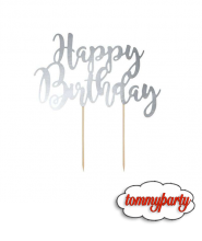 Cake Topper Happy Birthday Silver 1pz