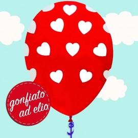 palloncino con pois a forma di cuore gonfiato ad elio
