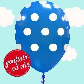 palloncino blu a pois gonfiato ad elio
