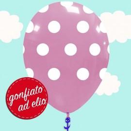 palloncino rosa pastello a pois gonfiato ad elio