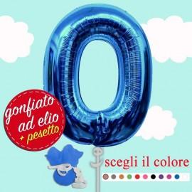 palloncino blu numero 0 gonfiato ad elio da cm.100