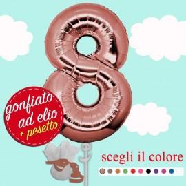 numero 8 rosa gold palloncino maxi ad elio