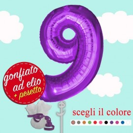 numero 9 palloncino maxi viola ad elio